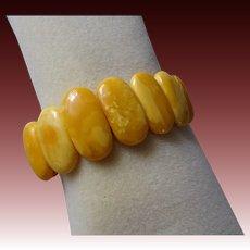 "Vintage 1940's Baltic Egg Yolk Amber Bracelet Brass Clasp 7.5"" Length"