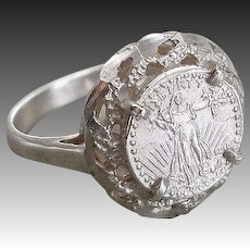 Sterling Silver Coin Ring Size 5.25
