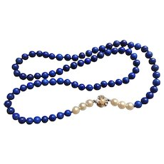 "Vintage Lapis Lazuli 14k White Gold Clasp Cultured Pearls Necklace 27.5"" Length"