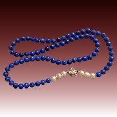 "Vintage Lapis Lazuli 14k White Gold Clasp Cultured Pearls Necklace 27.5"" Length"