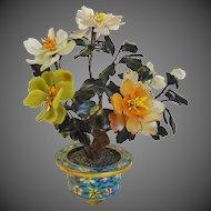 Antique Chinese Jade Carnelian Quartz Tree Cloisonne Pot