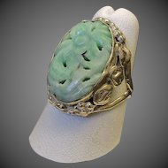 Antique Chinese Export  Apple Green Jadeite Fine Silver Ring