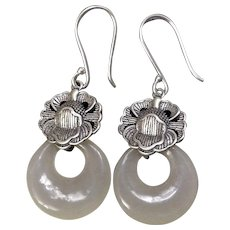 Chinese White Nephrite Jade Mutton Fat Sterling Silver Earrings