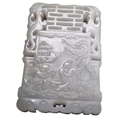 Chinese Pure White Nephrite Mutton Fat Jade Poem Pendant