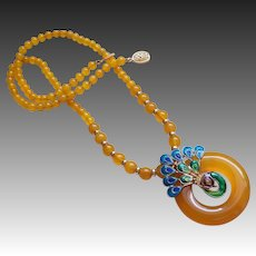 Chinese Yellow Translucent Chalcedony Enamel Peacock Necklace