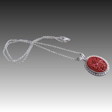 Vintage 1970's Chinese Carved Cinnabar Sterling Silver Pendant Necklace