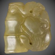 Antique 1850-1899 Chinese Qing Dynasty Chinese Yellow Nephrite Jade Pendant
