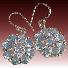 Pale Blue Aquamarine Earrings Gold Vermeil Hooks Pierced Ears