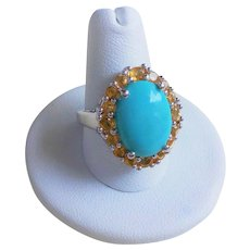 Turquoise  Golden Citrine Sterling Silver Ring Size 8.5 - 8.75