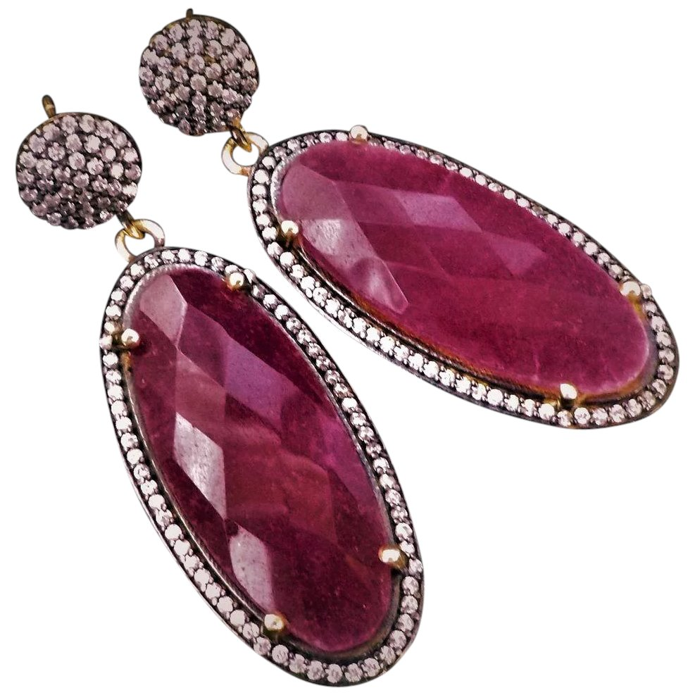 Hexagon Shaped 925 Sterling Silver Earning With Natural Ruby Stone TGW 2.96 Gm Also Available in Other Gems Colors Earrings