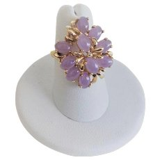 Vintage 14k Translucent Icy Lavender Jadeite Cluster Ring Size 6.25