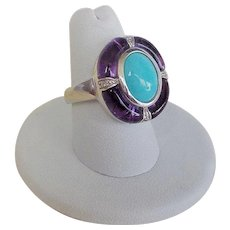 Vintage 1900's Chinese Export Sleeping Beauty Turquoise Amethyst Sterling Ring Size 7