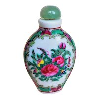 Antique Chinese Qing Enamel Rose Famille Porcelain Snuff Bottle Jade Cap & Spoon Signed
