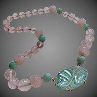 Vintage 1930's 14kt Jadeite Jade Necklace by Walter Lampl