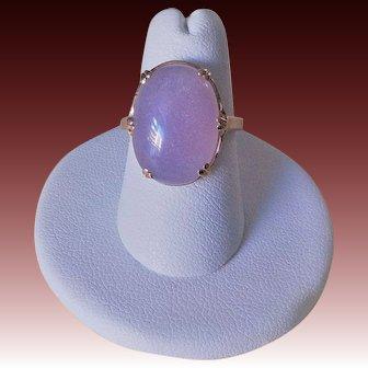 Vintage 10k Translucent Icy Lavender Jadeite Ring Size 7