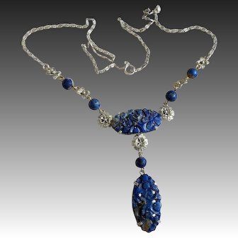 Vintage Chinese 1920's Art Deco Carved Lapis Lazuli Sterling Necklace