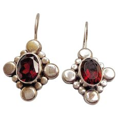 Vintage Red Garnet Sterling Silver Earrings