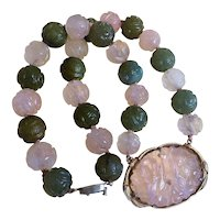 Antique 1890 - 1920 Chinese Qing Dynasty Carved Green Nephrite Jade Pink Rose Quartz Necklace