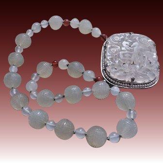 Antique Chinese Qing Dynasty Carved Translucent Shou Design Celadon Jade Necklace