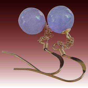 Vintage Translucent Lavender Jadeite 14k Gold Earrings