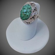 Antique Chinese Export Imperial Green Jadeite Sterling Silver Ring