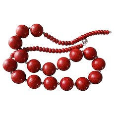 """Red Sponge Coral Necklace Sterling Silver Chain Sterling Clasp 30"""" Long 240.5 grams"""
