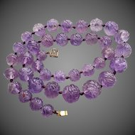 "Chinese Carved Translucent Amethyst 16mm Beads Necklace 23"" Heavy 116.4 g"