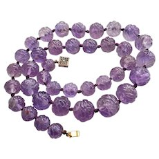 """Chinese Carved Translucent Amethyst 16mm Beads Necklace 23"""" Heavy 116.4 g"""