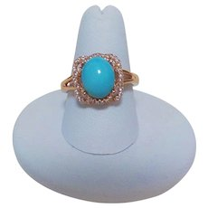 Chinese Export 1970's Sleeping Beauty Turquoise White Topaz Vermeil Ring Size 8