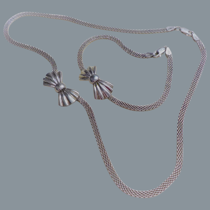 Vintage Sterling Silver Bow Necklace