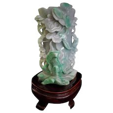 "Chinese Hand Carved Apple Green Jadeite Jade Vase 6"" Tall"