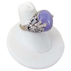 Vintage 1970's Chinese Lavender Jadeite Cubic Zirconia Sterling Ring Size 6