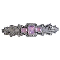 Vintage 1920's Art Deco Pink Morganite Marcasite Sterling Silver Brooch