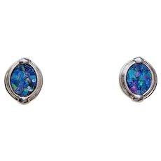 Vintage Chinese Black Opal Sterling Silver Earrings