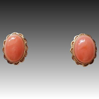 Italian Peach Pink Momo Coral 14k Yellow Gold Earrings
