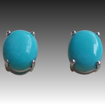 Turquoise Sterling Silver Oval Stud Earrings