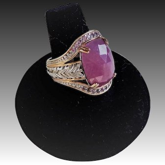 Opaque Ruby Pink Sapphires Sterling Vermeil Ring Size 9.25