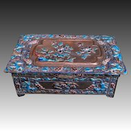 Antique Chinese 19thC. Qing Dynasty Bronze Enamel Repousse Humidor Box