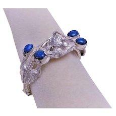 Vintage 1970's Chinese Export Sterling Silver Lapis Dragon Bracelet
