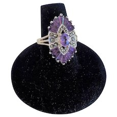 Vintage Art Deco Amethyst Marcasite Sterling Silver Ring Size 7.5