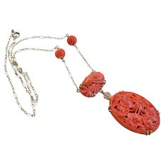 1920's Chinese Art Deco 14k Carved Coral Pendant Necklace
