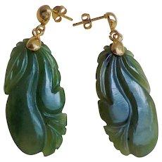 Vintage Chinese 1940's Carved Green Nephrite Jade Vermeil Earrings