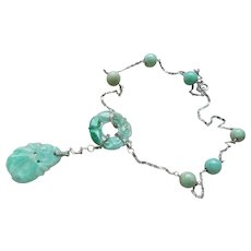 Chinese 1920's Art Deco Apple Green Jadeite Sterling Necklace