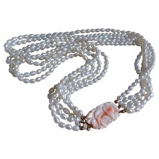 Vintage Carved Coral Multi-strand Cultured Freshwater Pearl Necklace