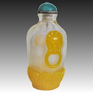 Antique 19thC Chinese Carved Overlay Peking Glass Snuff Bottle