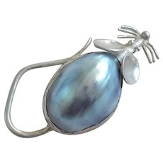 Vintage Blue Mabe Pearl Sterling Mouse Brooch Pin