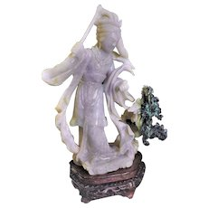 Vintage 1920-1940 Chinese Jadeite Carved Lady With Dragon Statue