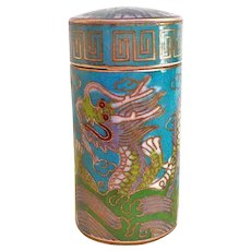 Chinese 19th C. Cloisonne Imperial Dragon Opium Box