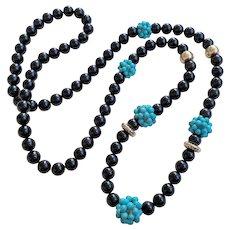 "Vintage Chinese 14k Woven Turquoise Black Onyx Necklace  34"" Opera Length"