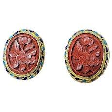 Vintage Art Deco Chinese Export Cinnabar Gold Vermeil Enamel Earrings